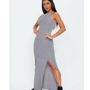 Long grey striped split dress